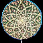 Roue de médecine : acrylique sur rotin tissé / sphère de cristal quartz au centre.